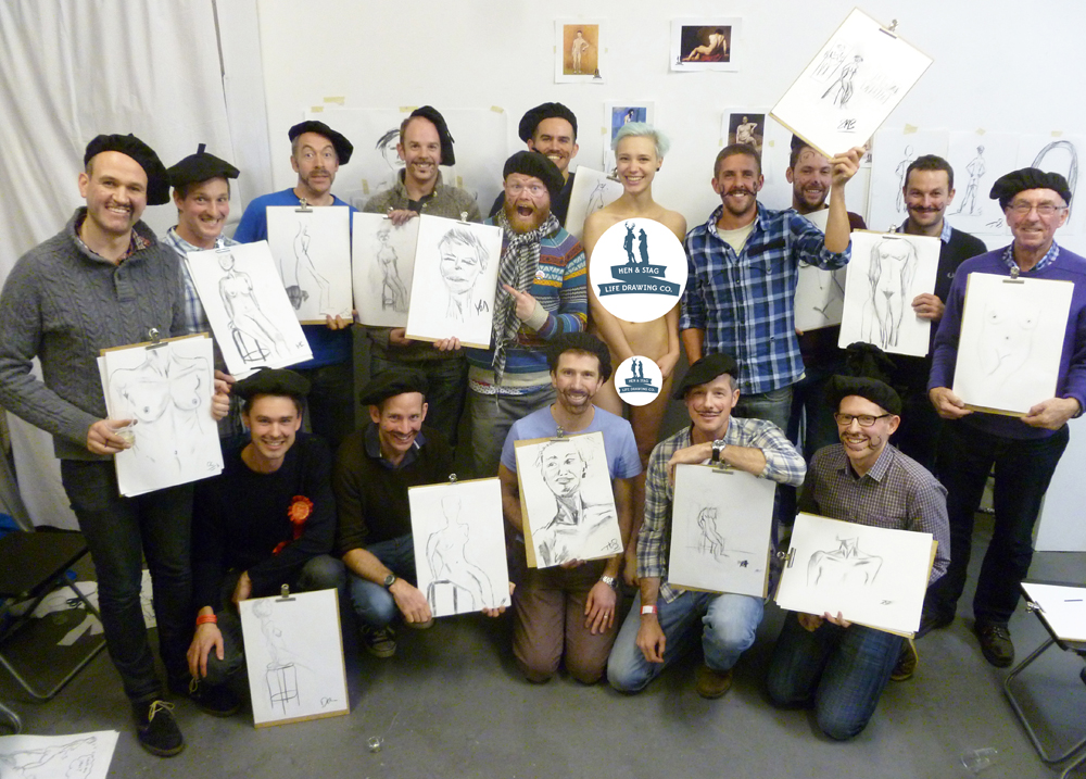 Stag party life drawing at our authentic artist's studio!